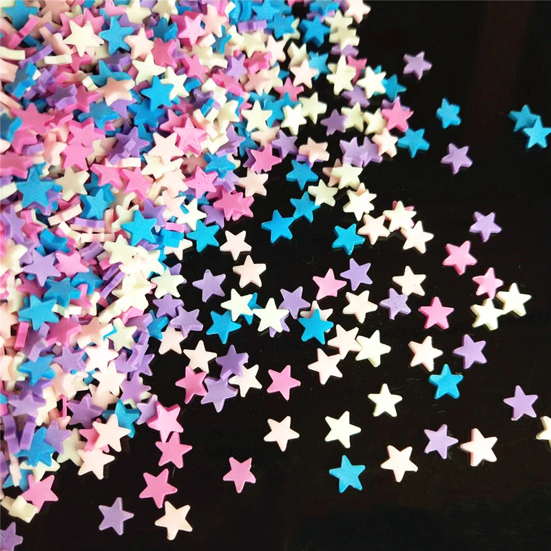 20g/lot Star Polymer Hot Soft Clay Sprinkles Colorful For Crafts Plastic Klei Tiny Cute Mud Particles Violet