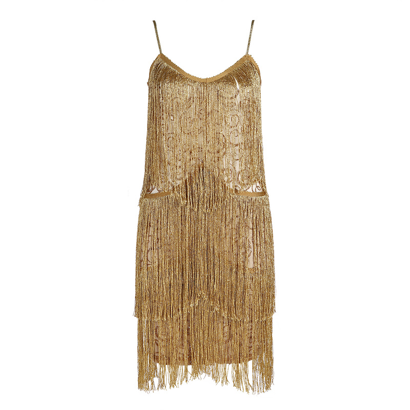 Hytrade 2018 Erin Borin Cocktail Party Runway Night Out Club Fringe Bandage  Sexy Gold Glitter Tassel Strappy Mini Celeb Dress-in Dresses from Women s  ... 347e752a57d6