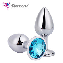 Smooth Touch Metal Anal Plug With Crystal Jewelry Butt Plug With Rhinestone No Vibrator Anal Beads Sex Toys for Men/Women(China)