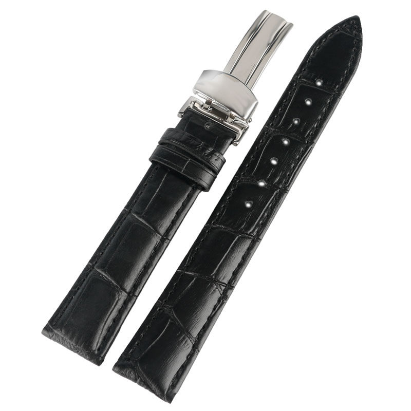 где купить High Quality Black Genuine Leather Watchband 18/20/22mm Military Sport Casual Replacement Soft Watch Band Strap по лучшей цене