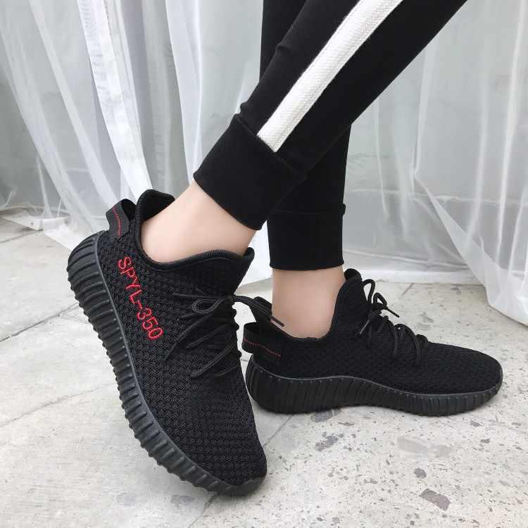 נשים מגופר נעליים לנשימה העקב שטוח תחרה עד זוג נעלי רשת מאמני רך הליכה הנעלה Zapatos Mujer