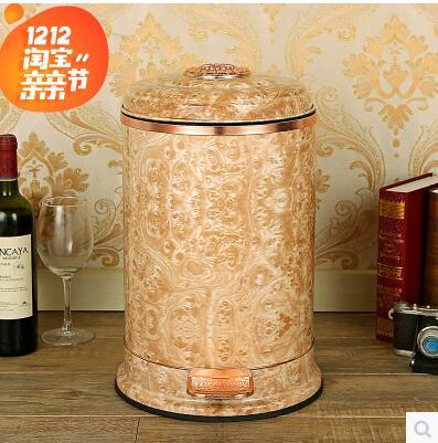 European Luxury Marble lines Stainless trash can  metal waste bin for trash bag holder garbage bin for home decoration LJT023