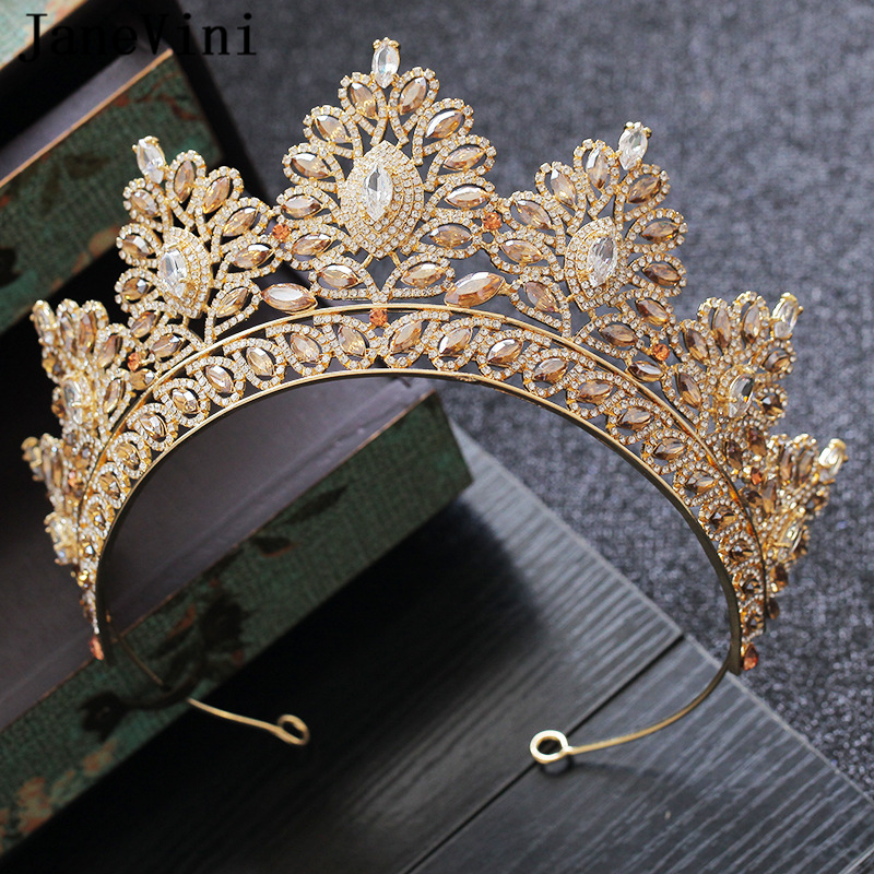 JaneVini Elegant Gold Crystal Wedding Crowns and Tiaras Headdress Luxury Rhinestone Queen Diadem Bridal Jewelry Hair Accessories