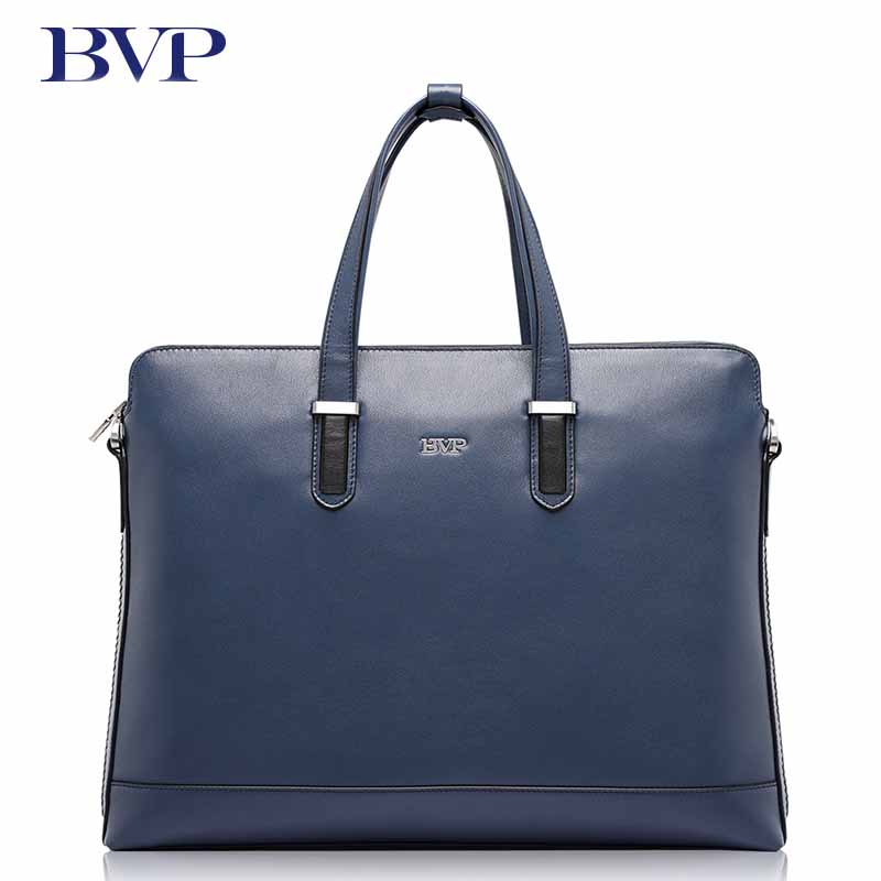 BVP Brand High Quality Genuine Leather Men Briefcase Business Blue Attache Case With Detachable shoulder strap Cow Leather J50 free shipping men genuine leather briefcase brown color high quality fashion business messager shoulder attache portfolio totet8