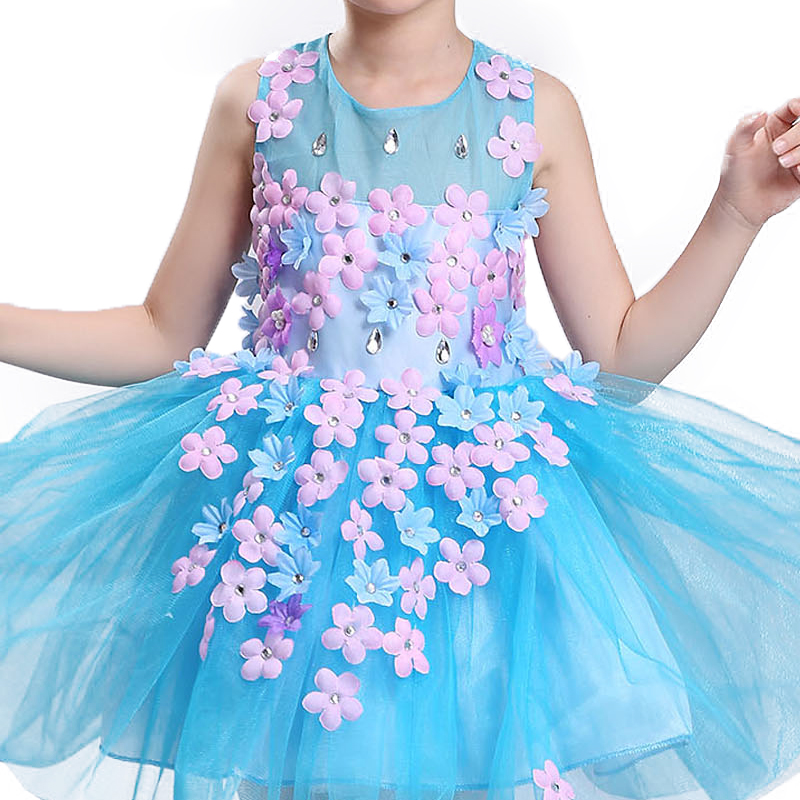 New summer baby girl Clothes print flower girl dress for wedding girls party dress with bow dress 3