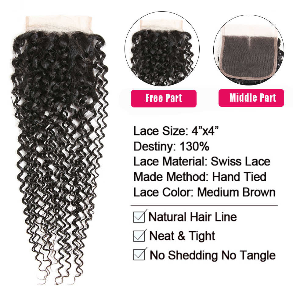 Satai Mongolian Kinky Curly Hair 3 Bundles with Closure Middle Part Natural Color Human Hair Weave Bundles Non Remy Hair