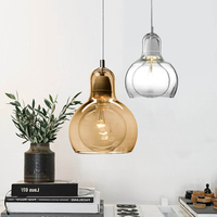 Clear Glass Pendant Lights Modern Loft Pendant Lamps LED light Fixtures For Living Room Kitchen Fixtures Lustre Table Hanglamps