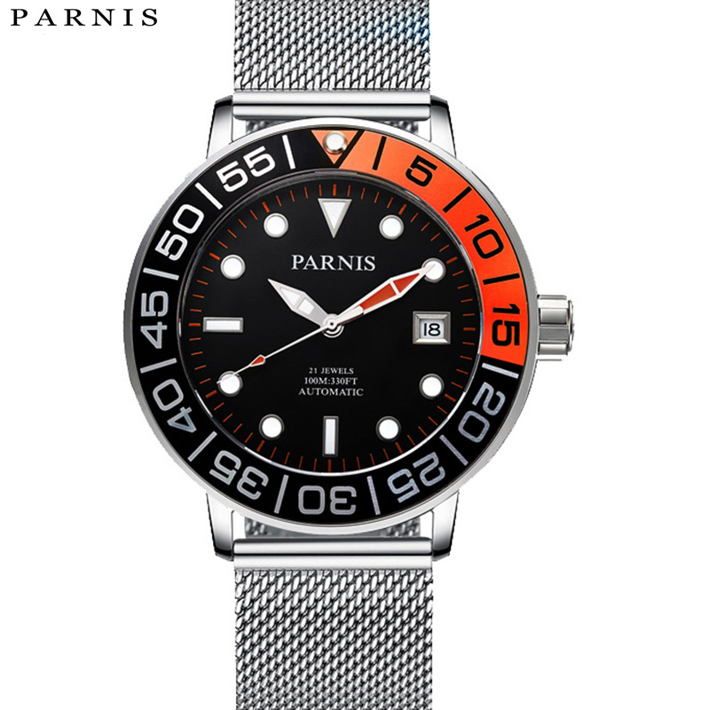 Nouveauté 2017 montres pour hommes Parnis montre automatique miborough mouvement lumineux bande de maille en acier 100 m montre étanche mécanique
