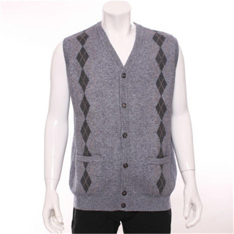 100% Cashmere Ziege Vneck Stricken Männer Mode ärmellos Strickjacke Weste Pullover H-gerade Blau 3 Farbe S/2xl Ausgezeichnet Im Kisseneffekt