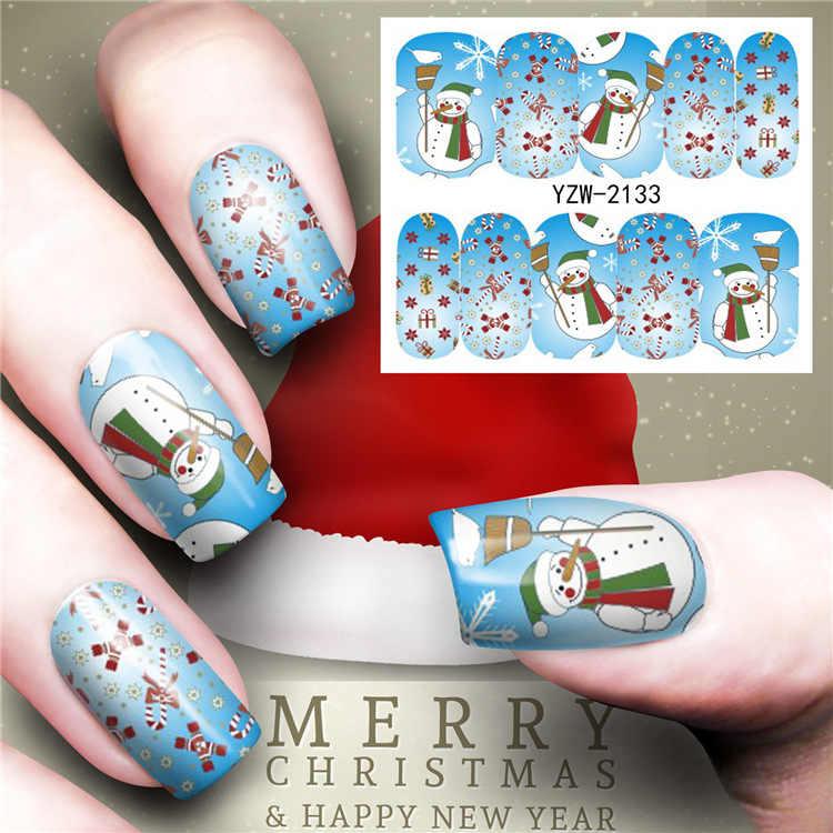 1 pcs Merry Christmas Tree สติกเกอร์เล็บ Decals เล็บ Glitter ดอกไม้ผีเสื้อผู้หญิงตกแต่งเล็บ m3b2