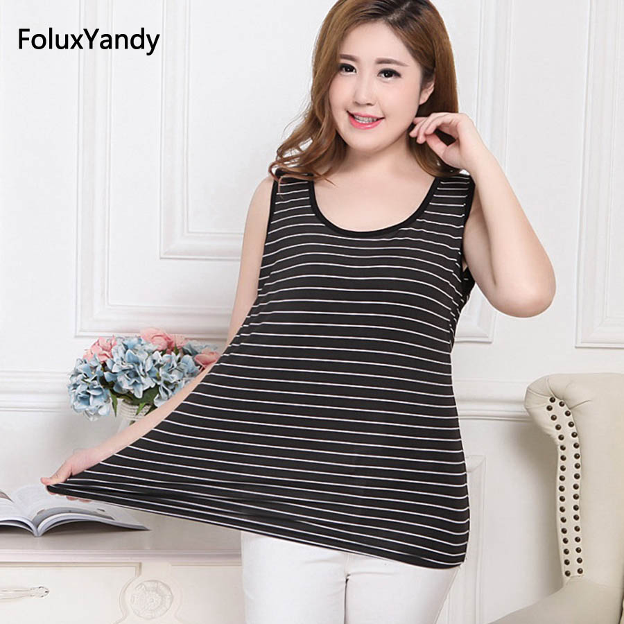 Stretched Tank Tops Plus Size 7 XL Women Casual Slim Summer Tops Striped Sleeveless Tanks Black RUHDFS26