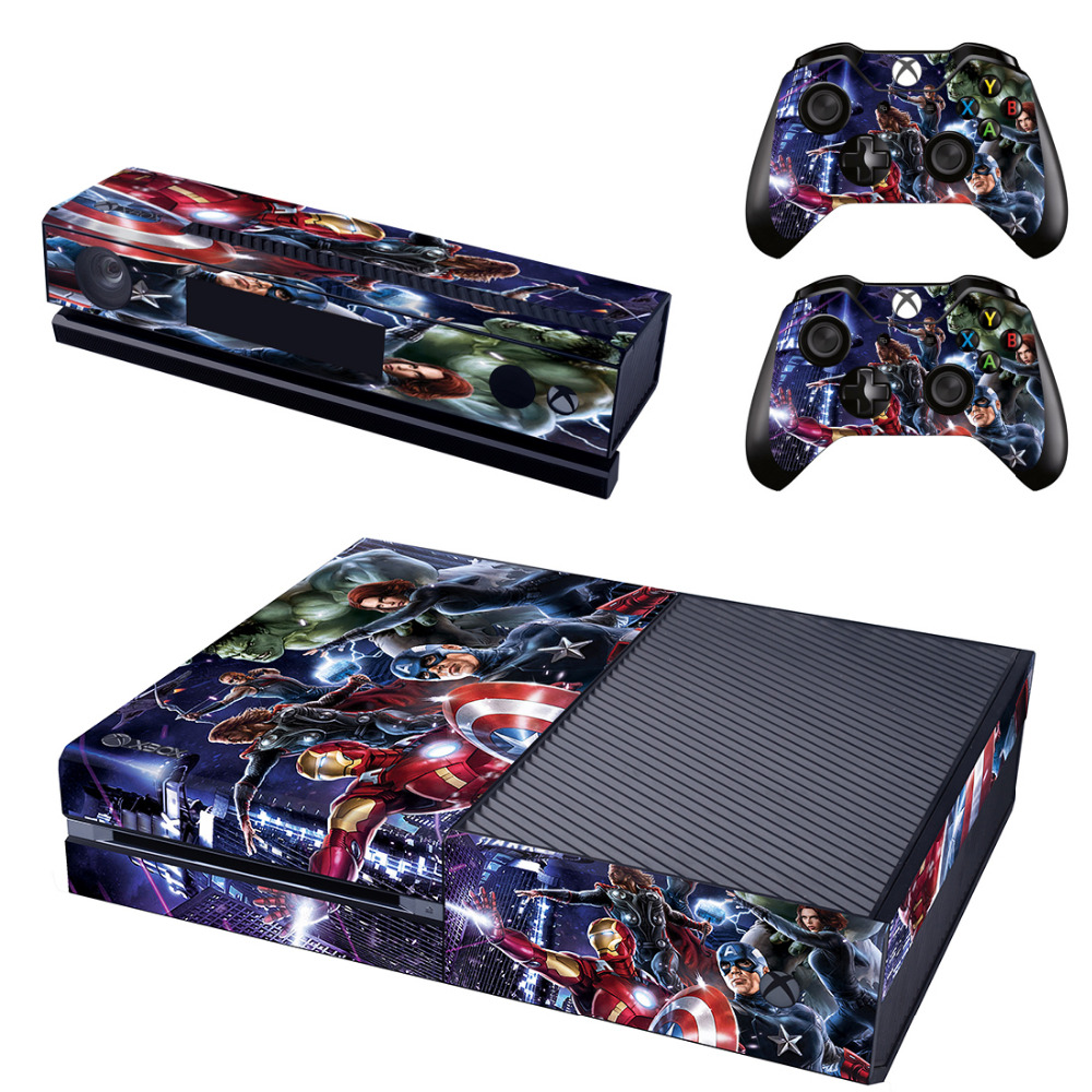 Marvel The Avengers Decal Skin Sticker for Microsoft Xbox One Kinect and Console and 2 Controllers Vinyl Game Stickers