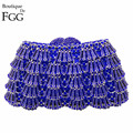 Elegant Women's Fashion Handbags Evening Wedding Cocktail Blue Crystal Clutch Bags Bridal Hollow Out Box Metal Clutches Purse