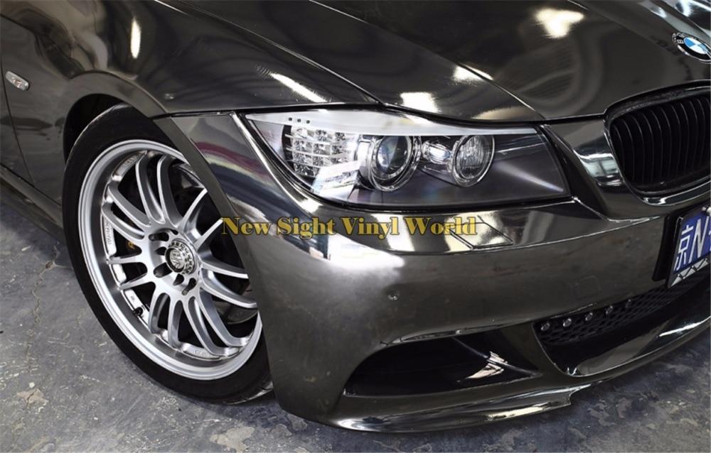 Alta Qualidade Stretchable Black Chrome Envoltório de Vinil Film Para Carro Adesivo Bolha de Ar Livre
