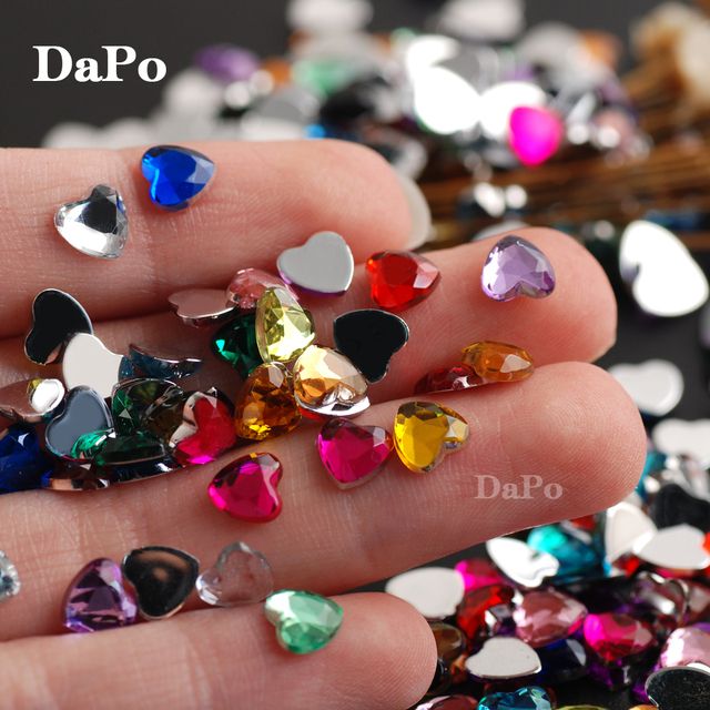 Hisenlee 1000Pcs 6mm Mix Colors Heart Shape Flat back Acrylic Rhinestones  Glue On Stones DIY Crafts Decoration d2f8edb73a70