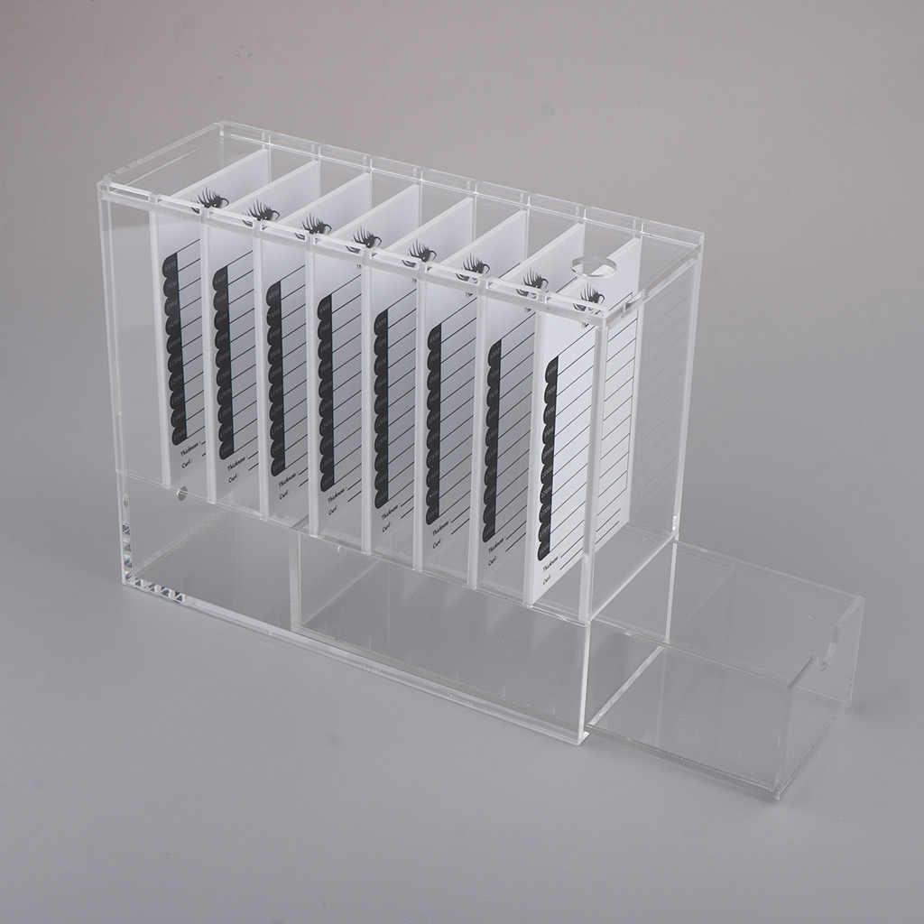 8 طبقات الاكريليك واضحة كاذبة رمش حقيبة للتخزين منظم رمش صندوق عرض حامل مع 8 قطعة الرموش البليت
