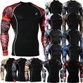 Avançado 3D Impressão Masculino Camisa Slim Fit Peles de Compressão Manga Longa Apertado dos homens Musculação Crossfit MMA Campeão Camisa S-4XL