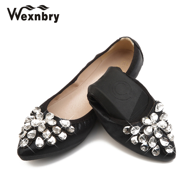 Wexnbry New Women Flat 2018 Crystal Ballet Flats Folding Shoes Casual Rhinestone  Soft Dancing Egg Rolls Shoes Loafers 43f50b79ade9