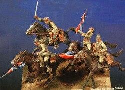 1/35 полимерные наборы для второй мировой войны, польская кавалерия с военной лошадью (4 фигурки, 4 лошади, без машин и флагов)
