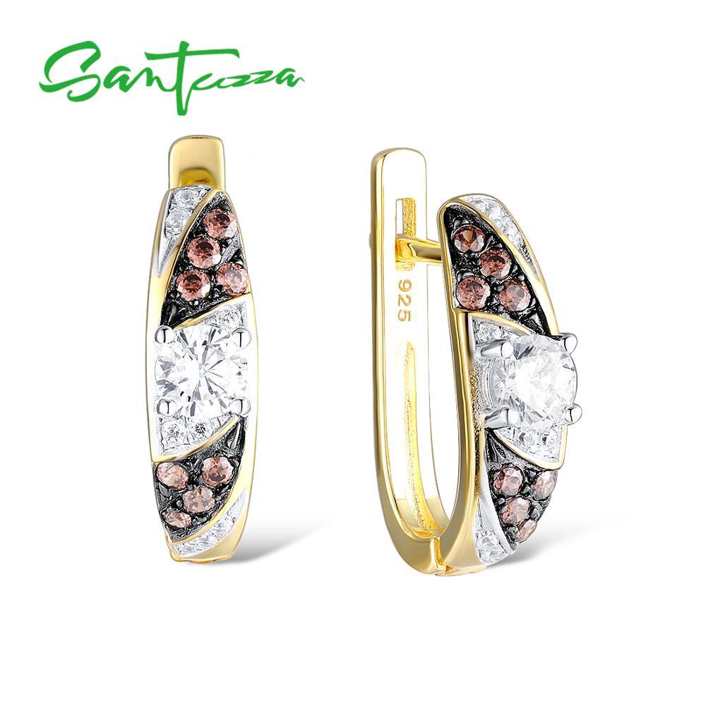 SANTUZZA 925 boucles d'oreilles en argent Sterling bijoux boucles d'oreilles pour les femmes ronde chocolat rond blanc cubique Zircon 925 partie Sterling