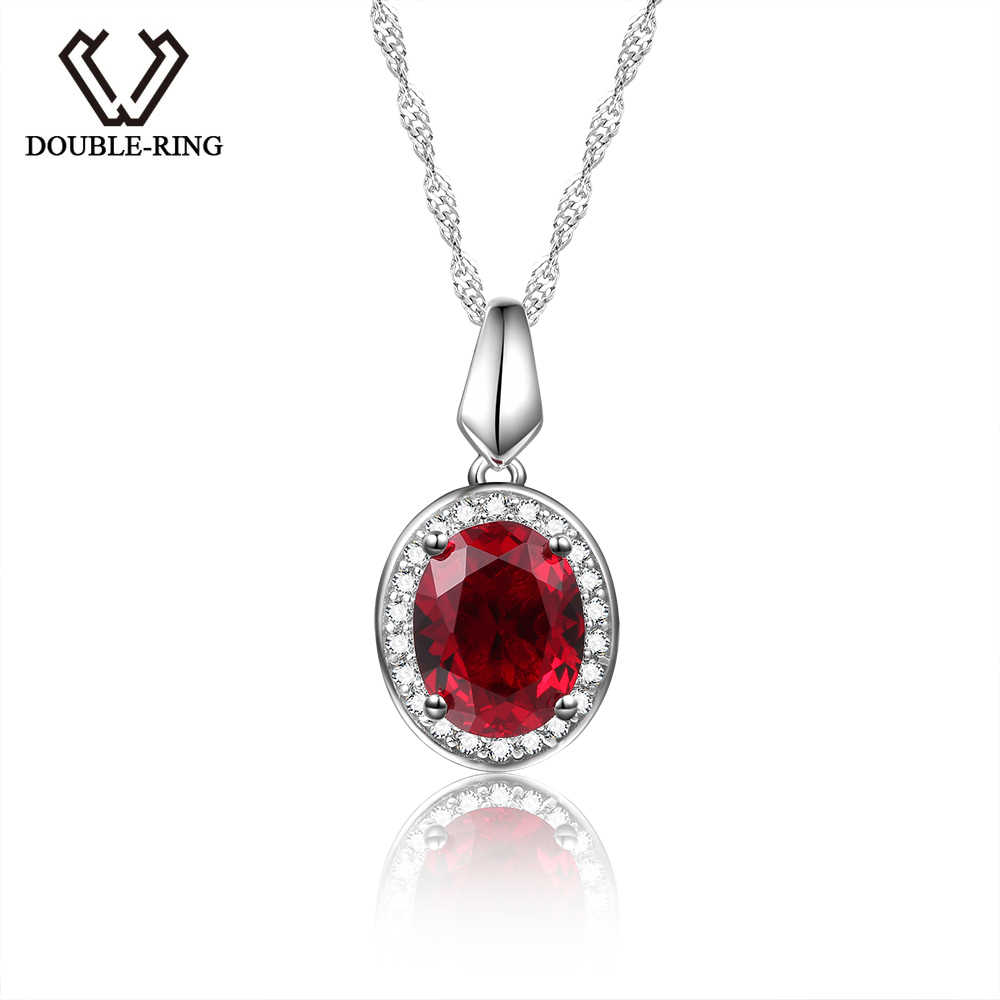 DOUBLE-R Classic 925 Silver Pendant Necklace Created Oval Ruby 2.0ct Gemstone Zircon Pendant for Women Wedding Jewelry