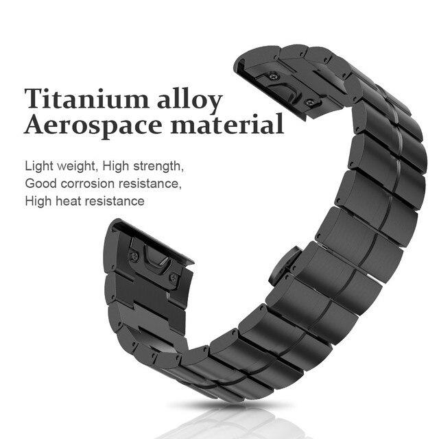 26mm Width Strap for Garmin Fenix 5X/3/3HR Band Titanium Alloy Watchband Sport W
