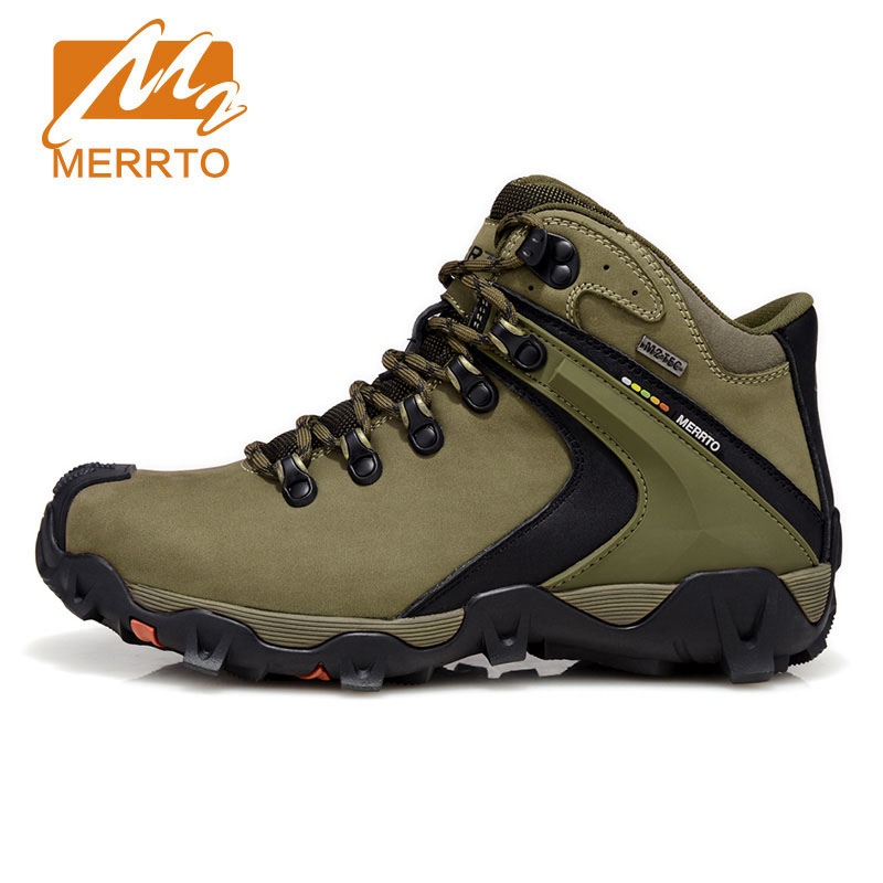 Фотография MERRTO Man Hiking Shoes Waterproof Boots Climbing Trekking Mountain Walking Shoes Winter Genuine Leather Mela Fishing Boots