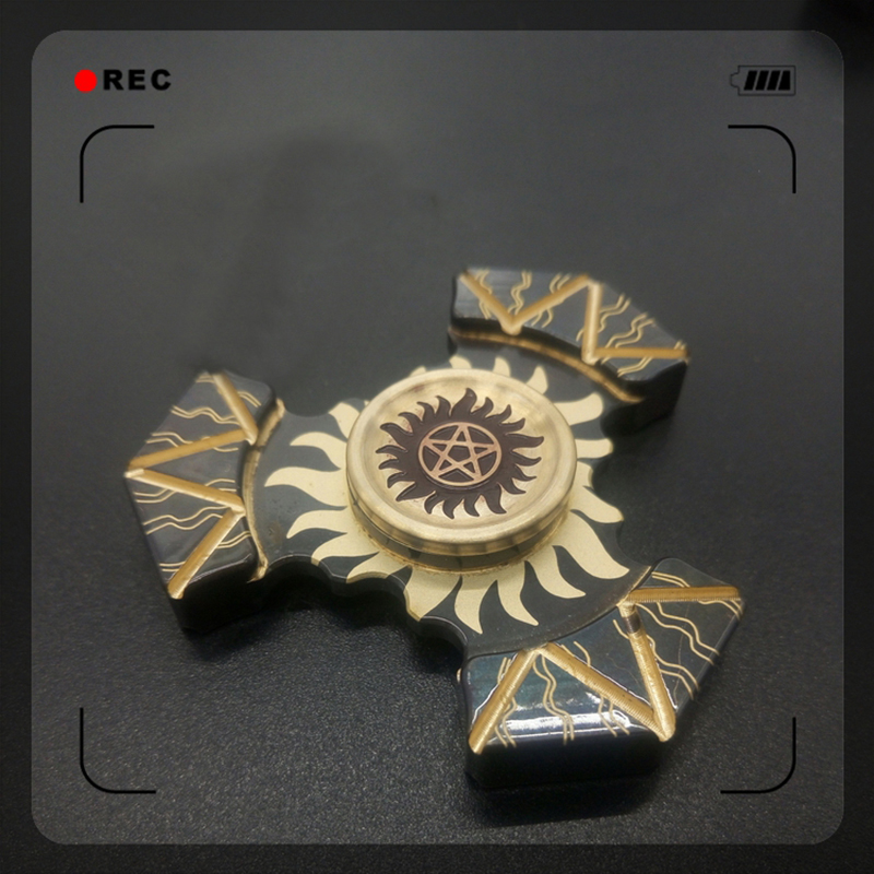 3 Minutes Sun Red Flame Brass Metal Tri Fidget Spinner Stress Toys Tri Spinners Metal Hand Spinner Finger Gyro EDC Adult Toy