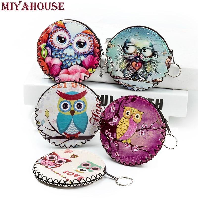 Miyahouse New Fashion Coin Purse Kawaii Cartoon Owl Pouch Women PU Leather Girls Zipper Change Purses Ladies Cute Small Wallet