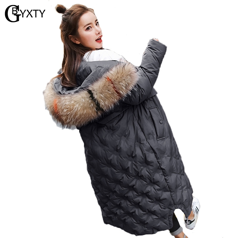 GBYXTY Long Hooded Down Jacket 2018 Winter Women Thick Real Raccoon Fur Collar Duck Down Jacket
