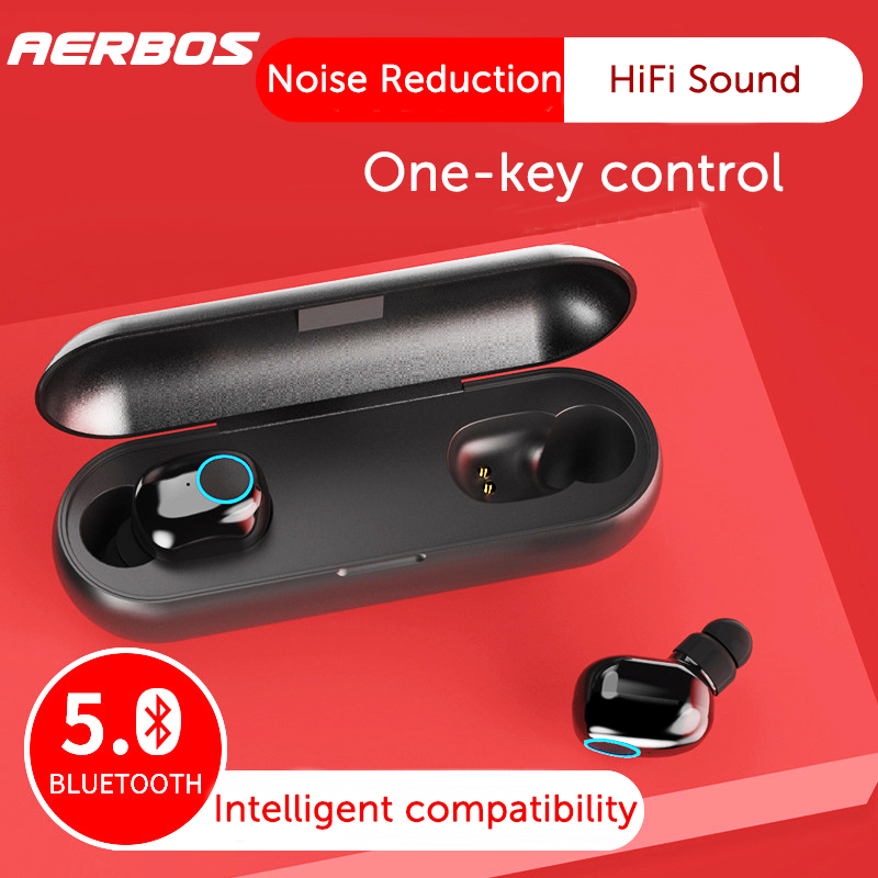 AERBOS Mini <font><b>Tws</b></font> 5.0 Sport Bluetooth Earphone Wireless headset Earphone with mic Automatically Pairing earbuds for Mobile Phone image