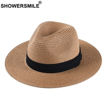 SHOWERSMILE Sun Hats For Men Paper Straw Panama Hat Women Classic Camel Jazz Cap Boater Brand Summer Vacation Beach Fedora Hats 2019 new summer jazz cap beach straw caps fedora hats for men fedoras panama hat