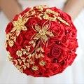 Envío libre de La Novia que sostiene las flores Recién llegado de Rojo y Oro de Rose de La Boda Ramo de Novia DIY Ramos de Novia Dama de Honor