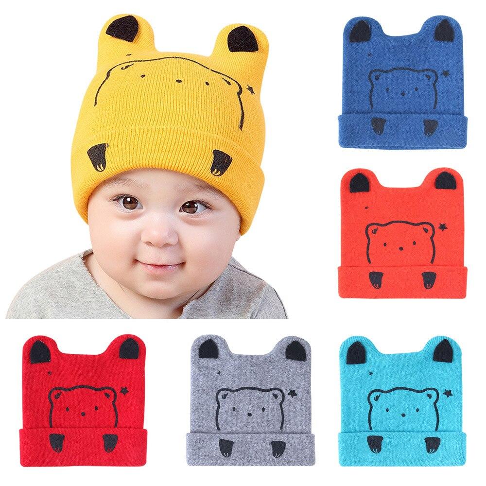 New Winter newborn photography accessories Baby Beanie For Boys Girls Cotton Hat Children Print cartton Hats touca infantil #84H