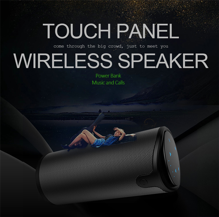 Zealot S8 Portable Wireless Bluetooth Speaker Touch Control Sport Bicycle HiFi Stereo Car Column Subwoofer Support TF Card AUX adin 26w metal vibration bluetooth subwoofer speaker nfc touch hifi portable mini wireless speaker 360 stereo sound loudspeakers