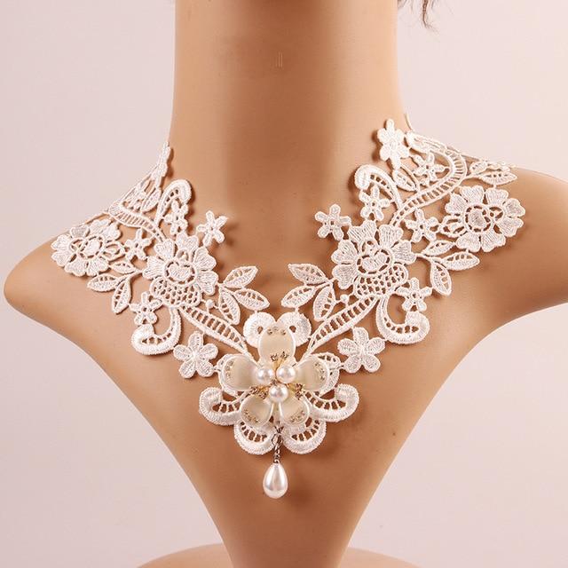 Gothique Punk Style Gem Decoration Femmes Blanc Dentelle Perles