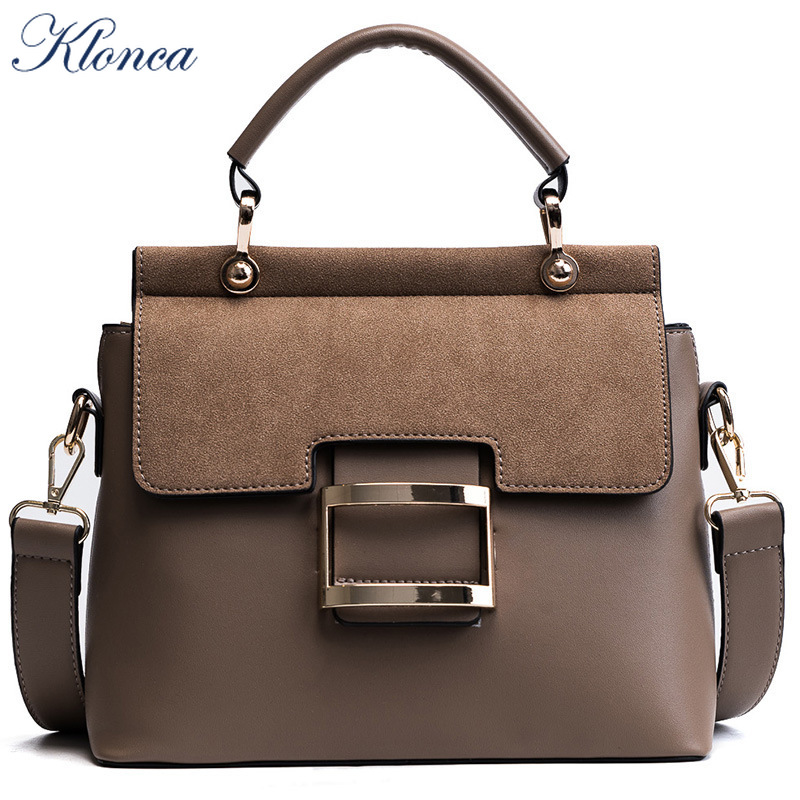 Klonca PU Leather Female Shoulder Bag 2019 New Fashion Wide Shoulder Strap Portable Small Square Bag Freeshipping Handbag in Shoulder Bags from Luggage Bags