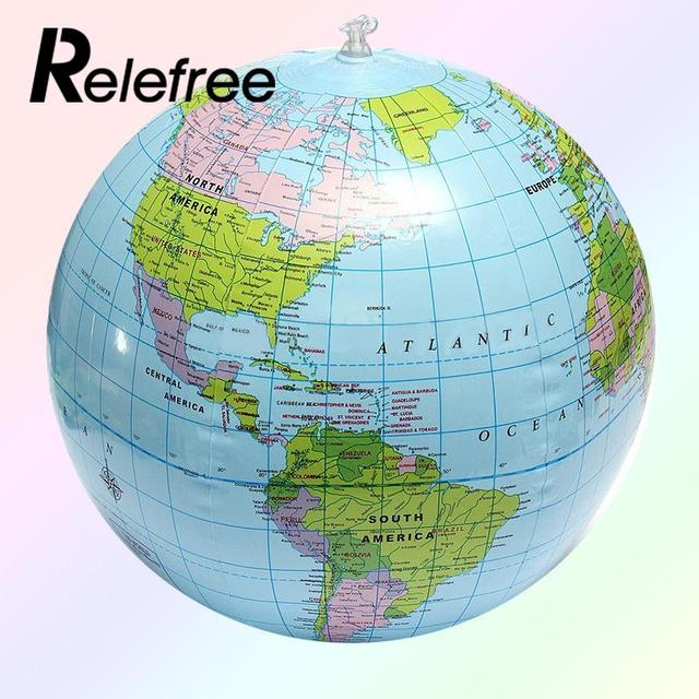 30cm inflatable globe beach ball kids learning and playing geography world map swimming pool inflated beach