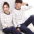 Pijamas Mulheres Primavera Inverno Coreano Conjunto de Pijama Casal Xadrez Puro Algodão Sleepwear de Manga Comprida Casa Terno Senhora Terno Adultos do Sexo Masculino