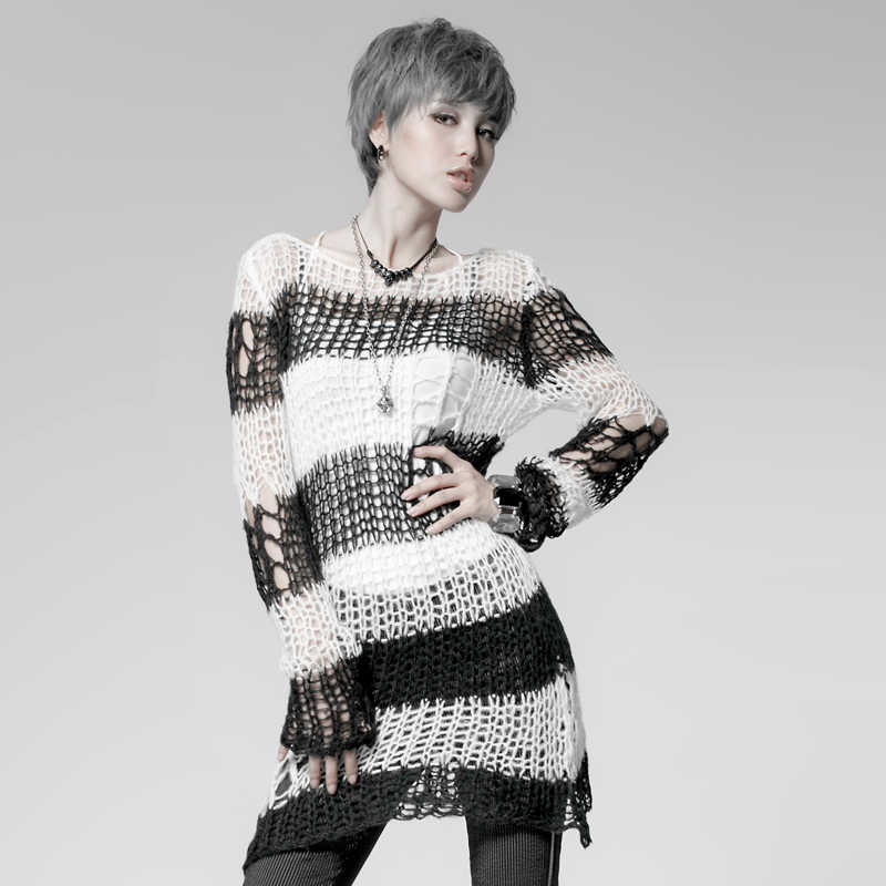 bd9a6b583e8ce ... PUNK RAVE Punk Broken Pullover Striped Ladies Stylish Cape Sweater  Computer Knitting Holes Thin O- ...
