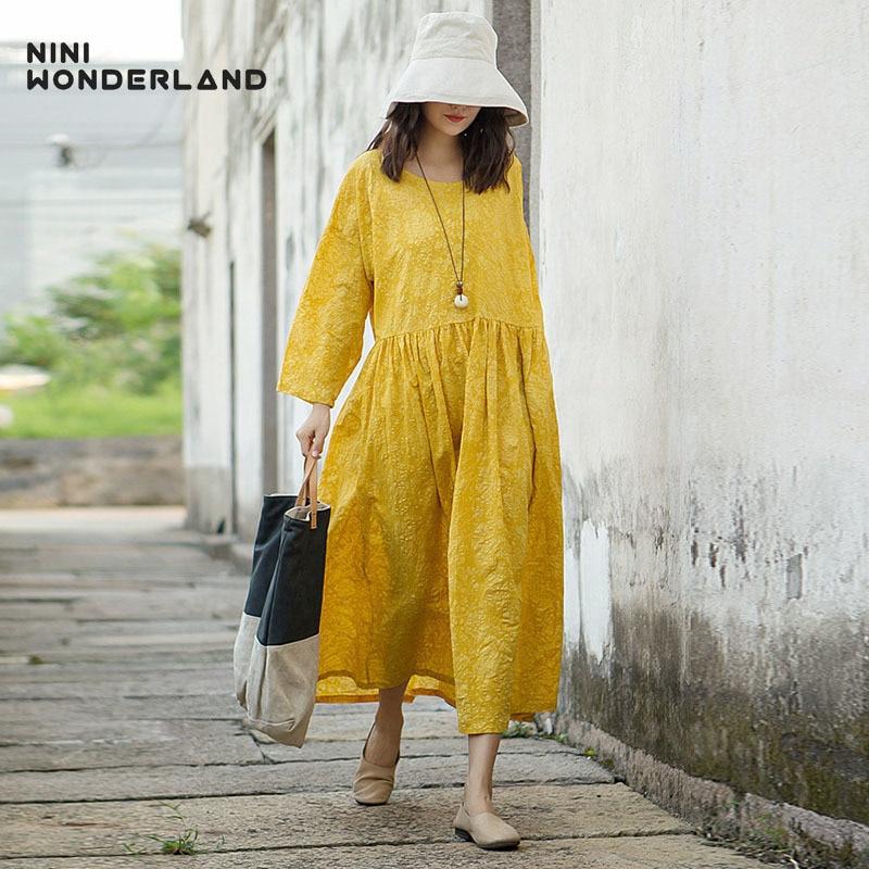 NINI WONDERLAND 2018 Autumn print dress women loose dress female printing cotton large size dresses long