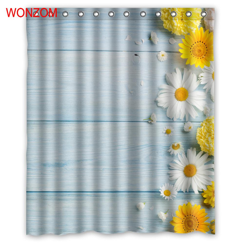 WONZOM 3D Daisy Shower Bathroom Waterproof Accessories Curtains For Decor Modern Flower Bath Curtain with 12 Hooks Gift in Shower Curtains from Home Garden