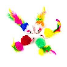10 sztuk/partia miękki polar sztuczna mysz zabawka dla kota s kolorowe piórka zabawne gry zabawki dla kotów kotek interaktywna zabawka dla kota mysz