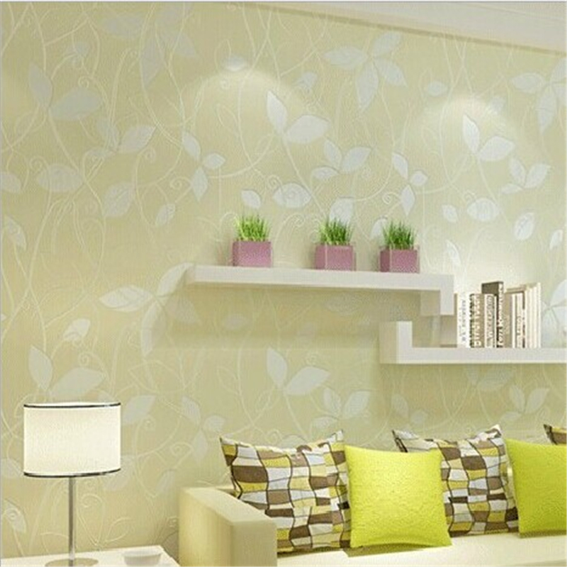 ФОТО beibehang of wall paper Modern Pastoral Non-Woven Wallpaper 3D Flocking Wall Paper Roll Yellow Pink papel parede contact