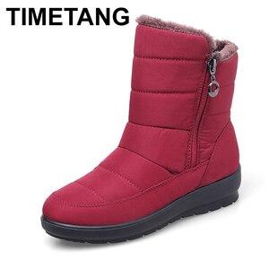 Image 1 - TIMETANG 2019 yeni kaymaz su geçirmez kışlık botlar artı pamuk kadife kadın ayakkabı sıcak ışık büyük boy 41 42 kar bootsE1872