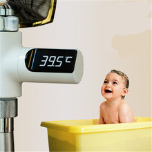 LED Display Home Water Shower Thermometer Flow Self-Generating Electricity Water Temperture Meter Monitor For  Baby Health Care