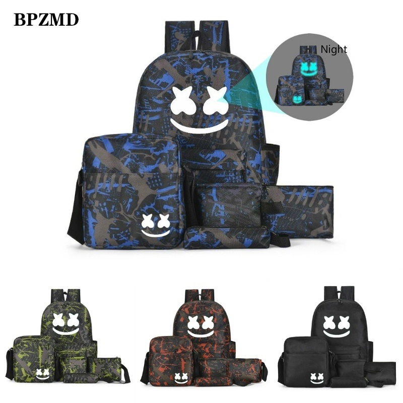 DJ Marshmallow Multifunction Backpack Set for Boys Teenagers Student School Bags Girls Luminous Backpack Travel Shoulder Bag New