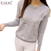 ICHOIX 2017 Women Autumn Winter Sweaters Ladies Floral Embroidery Pullover Fashion High Elastic Tricot Jumper Femme