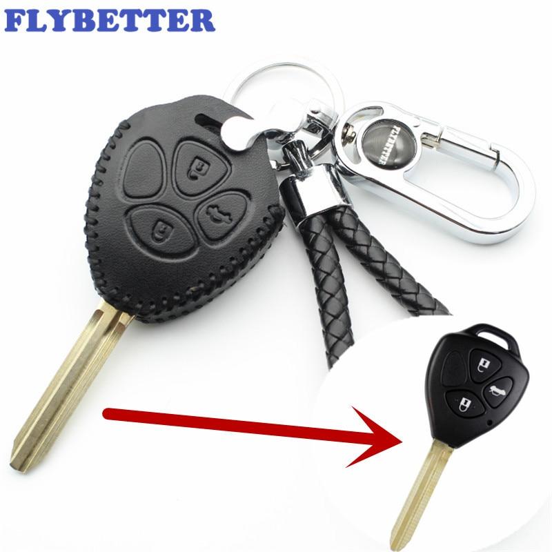 FLYBETTER Véritable En Cuir 3 Bouton Key Case Cover Pour Toyota Prado/Marque/Corolla/Camry/Reiz/couronne Car Styling (B) L2036