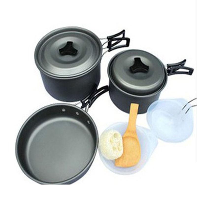 2 3Persons Cooking Pots And Pans Set Aluminum Portable font b Camping b font SetCookware Pots